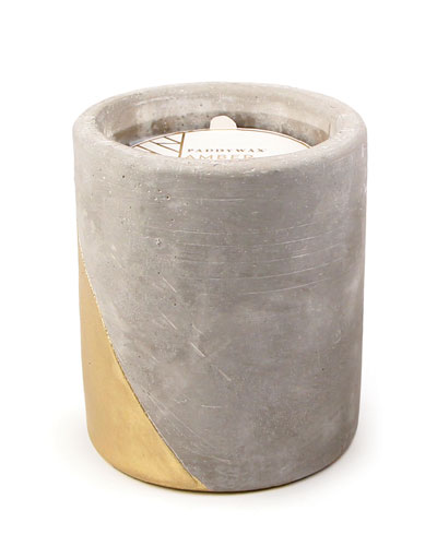 Amber + Smoke Large Concrete Candle, 12. oz./340g