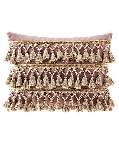 Wisteria Scroll Velvet Pillow with Tassels