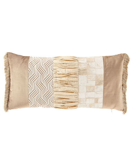 Seville Pieced Oblong Pillow with Fringe