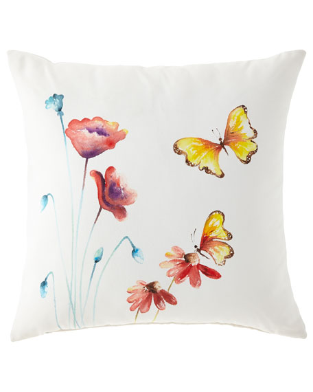 Eastern Accents Hand-Painted Butterfly Pillow, 22