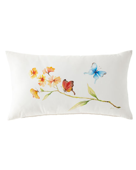 Eastern Accents Hand-Painted Butterfly Lumbar Pillow, 15