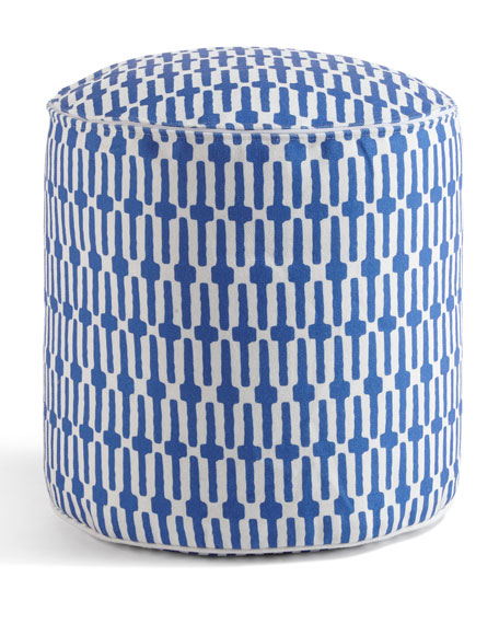 Fresh American Links Pouf Ottoman, Cobalt and Matching