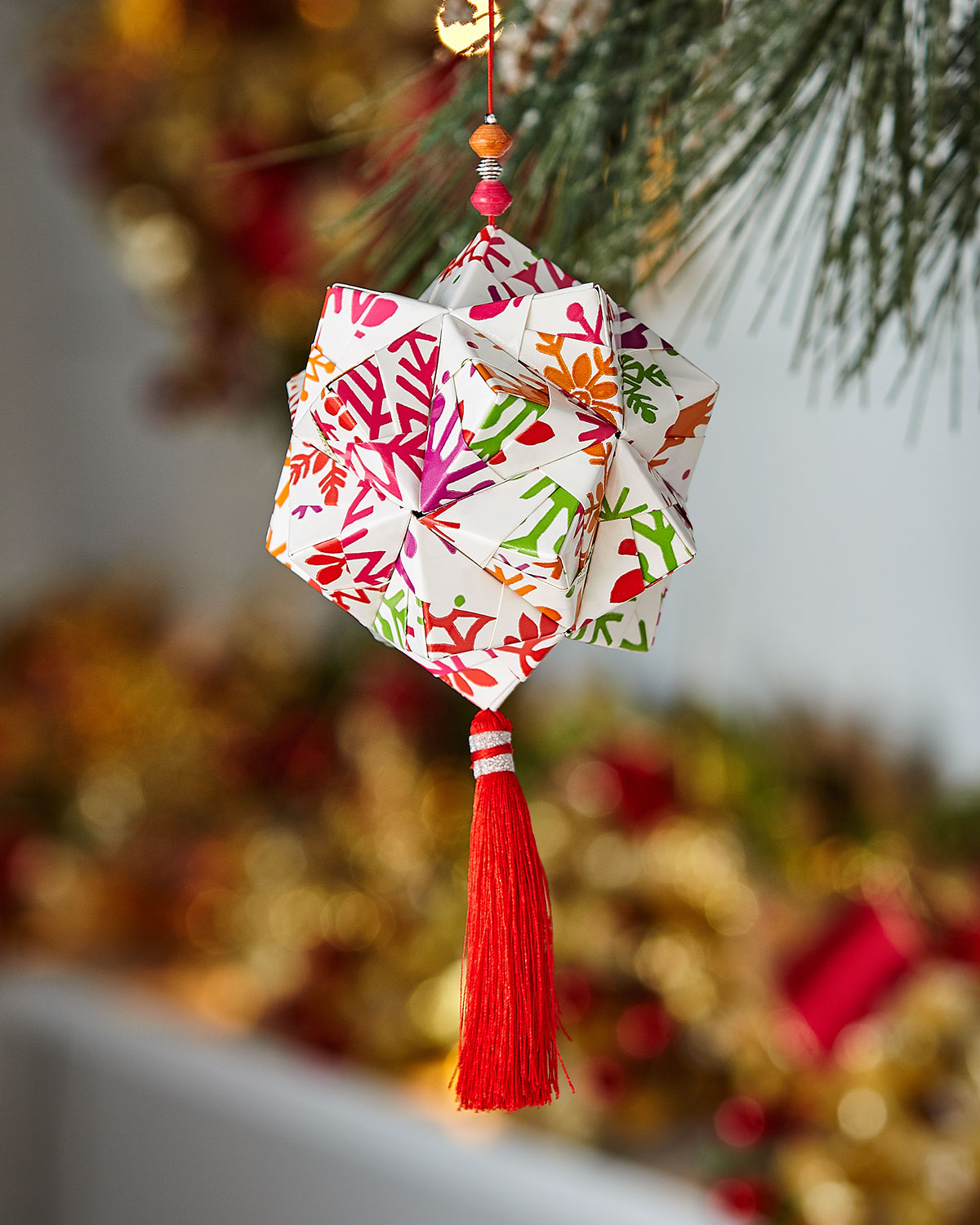 Origami Christmas Ornaments.Handcrafted Origami Christmas Ornament
