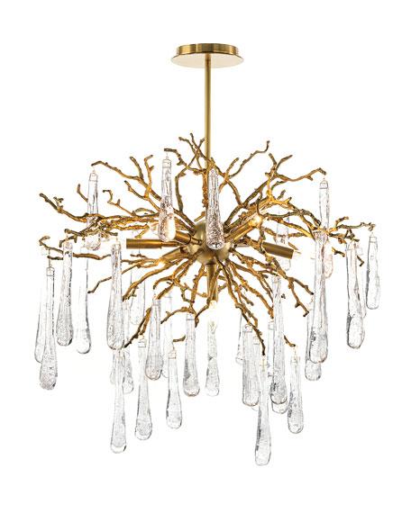 Brass and Glass Teardrop 7-Light Chandelier