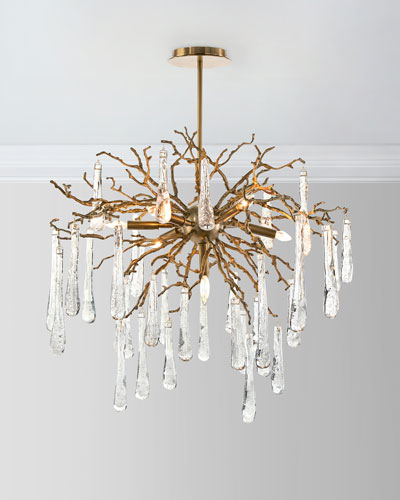 Brass and glass teardrop 7 light chandelier