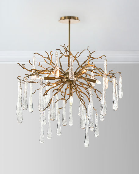Brass and Glass Teardrop 7-Light Chandelier