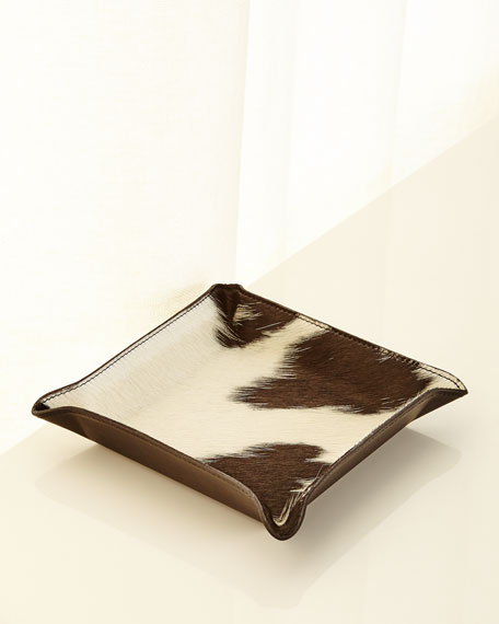 GRAPHIC IMAGE Calf Hair Valet Tray, White/Black in Dark Brown/White