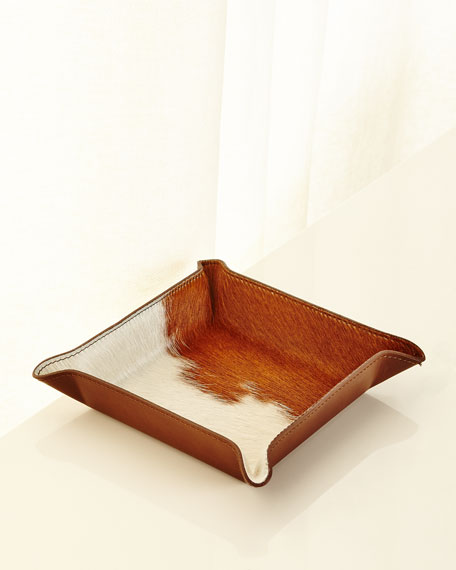 GRAPHIC IMAGE Calf Hair Valet Tray, White/Brown in Light Brown/White