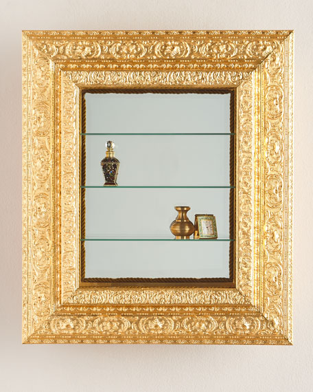 wall vitrine with wooden frame - Wooden Frame