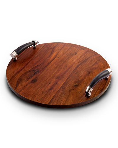 Orion Round Wood Tray with Horn Handles