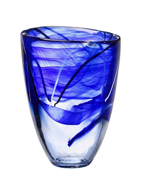 Orrefors Kosta Boda Contrast Small Vase, Blue