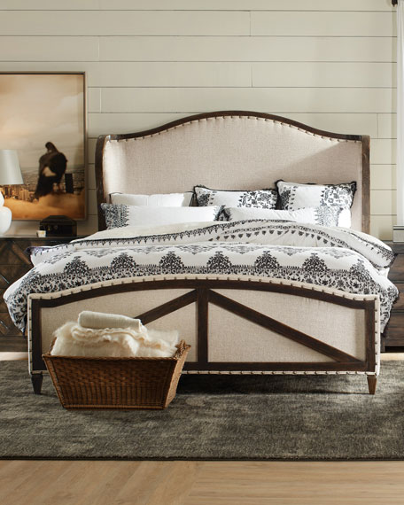 hooker furniture analy upholstered queen bed and matching - High End Bedroom Furniture