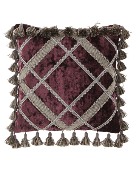 Aubergine Velvet Pillow with Tassels