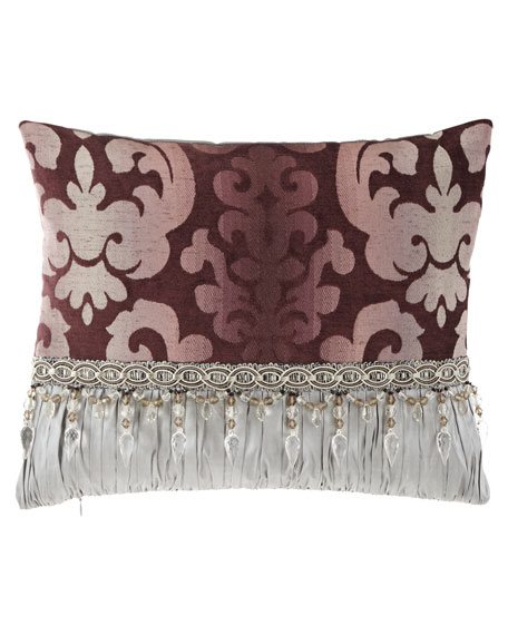Sweet Dreams Aubergine Oblong Pillow with Beads