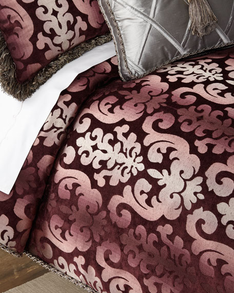Sweet Dreams Aubergine Damask Queen Duvet