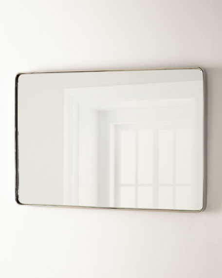 "Stainless Steel Curved Rectangle Mirror, 24"" x 36"""
