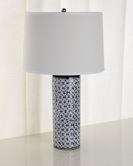 Charmant Ceramic Table Lamp, Blue/White