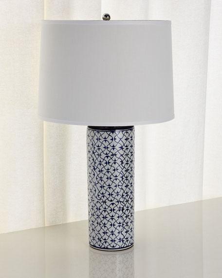 Ceramic Table Lamp, Blue/White
