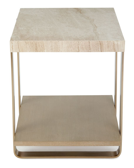 Samer Travertine-Top Side Table