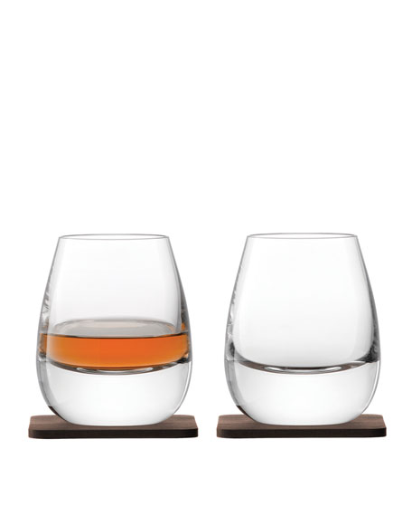 Whiskey Islay Tumblers with Walnut Coasters, Set of 2