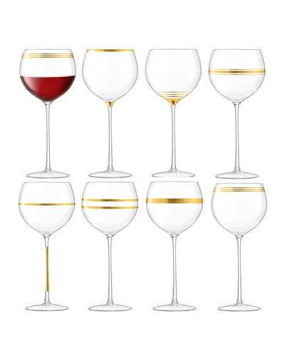 Deco Assorted Wine Goblets, Set of 8