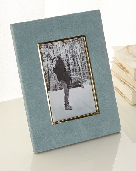 "Azure Valentina Suede Picture Frame, 4"" x 6"""