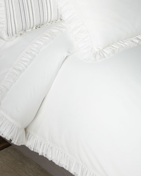 Laundered Ruffle Full/Queen Duvet Cover, White