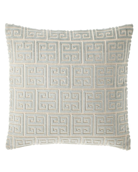 "Isabella Collection by Kathy Fielder Lyssa Greek Key Pillow, 18""Sq."