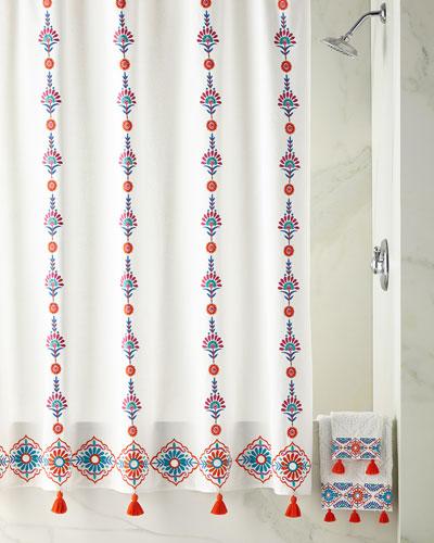 Aloka Shower Curtain, Coral