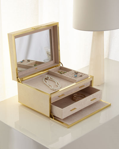 Luxe Shagreen Jewelry Box, Cream