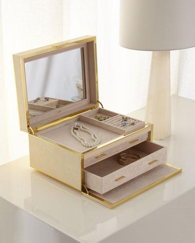 Luxe Shagreen Jewelry Box, Cream