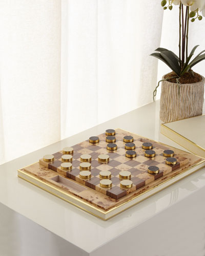 Faux-Shagreen Checkers Set, Cream