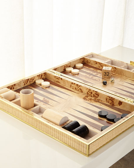 AERIN Cane Backgammon Set