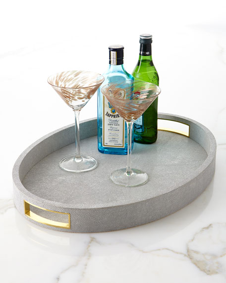 AERIN Modern Faux-Shagreen Cocktail Tray