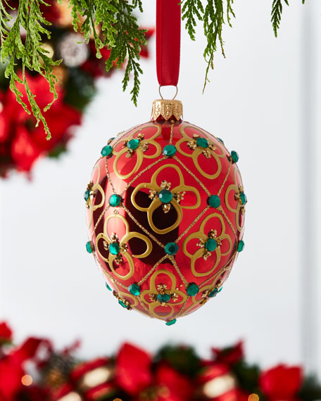 Shiny Egg Ornament with Floral and Stone Detail