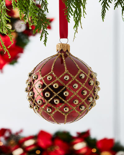 Crisscross Glitter Shiny Ornament with Beads