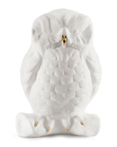 Avery Ceramic Little Owl White Gold, 14 cm