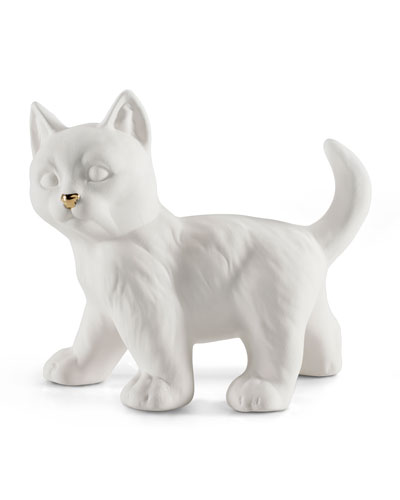 Avery Ceramic Standing Cat White Gold, 15 cm