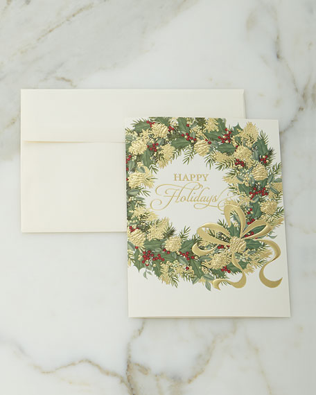 Carlson Craft Illustrated Wreath Cards/Envelopes, Set of 25