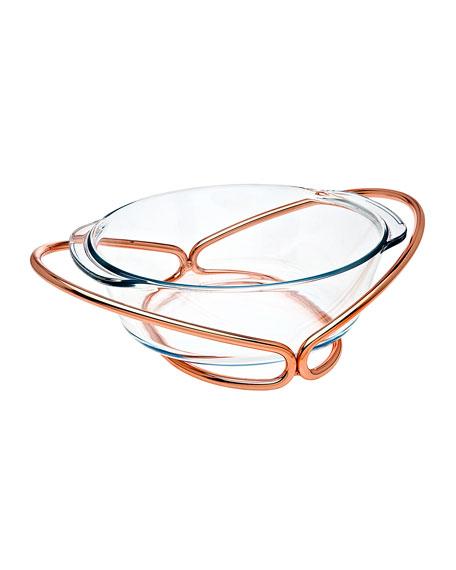 Godinger Copper and Glass Round Baker