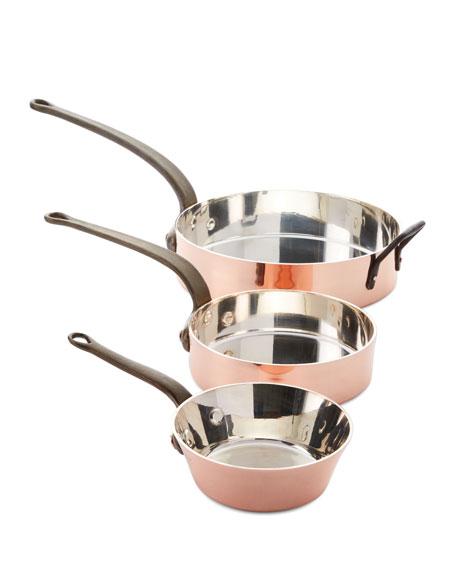 Solid Copper Silver-Lined Pans, Set of 3