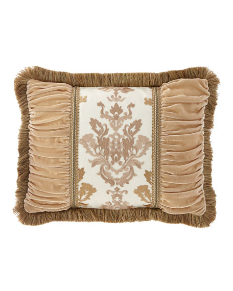 Isadora Pieced Oblong Pillow with Damask Center