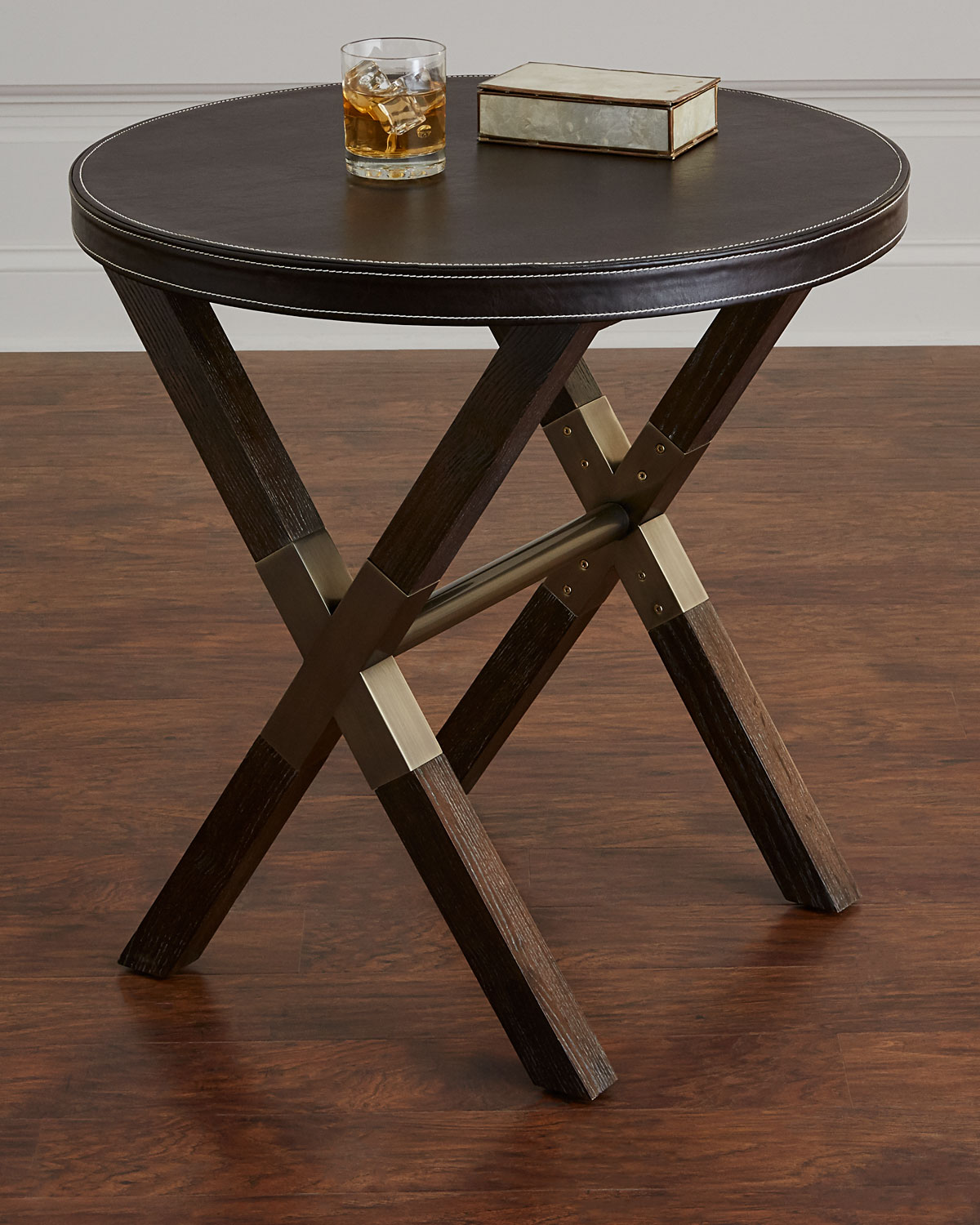 Clarendon Round X Frame Side Table