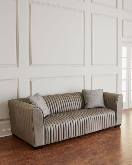 Kent Leather Channel Tufted Sofa
