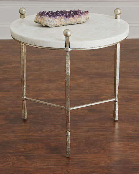 Bernhardt Clarion Round Stone Top Side Table