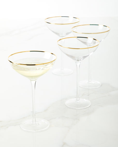 Empire Gold Champagne Coupe Glasses, Set of 4