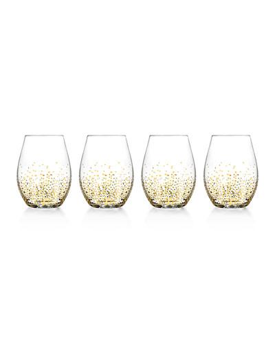 Gold Luster Stemless Glasses, Set of 4