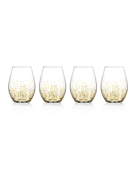 Gold Luster Stemless Glasses, Set of 4