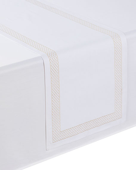 "Netta Table Runner, White/Champagne, 16"" x 70"""