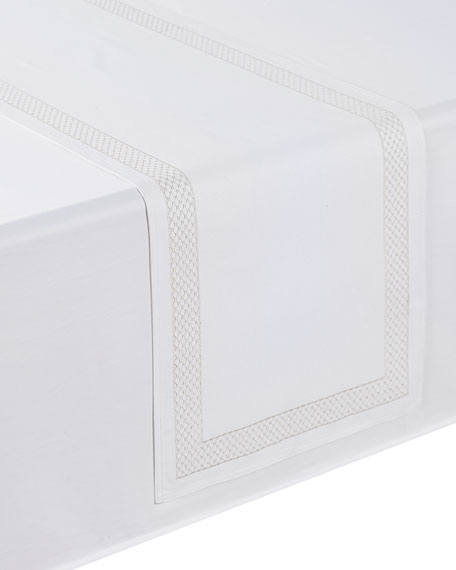 "Netta Table Runner, White/Silver, 16"" x 70"""